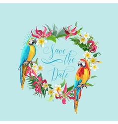 Save date tropical flowers and birds card vector