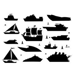 Sea ship silhouettes boats adapted to open vector