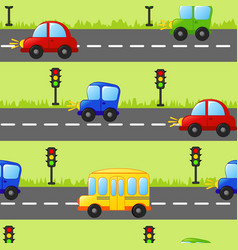 Seamless background with cars bus and traffic vector