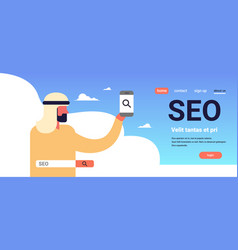 Seo search engine optimization arab man using vector
