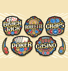 set gambling logos vector image