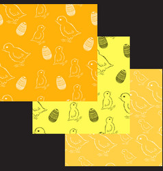 set of easter chick patterns vector image