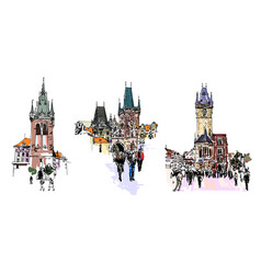 set three prague landmark sketch drawing vector image
