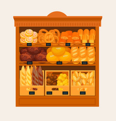 showcase stand or stall with bread and pastry vector image