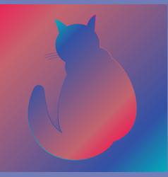 silhouette of a cat with a gradient fill home cat vector image