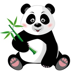 Sitting cute panda with bamboo isolated on white vector