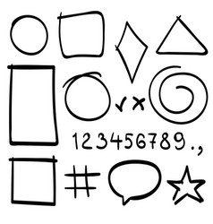 sketch symbols sign sketch figure icons vector image