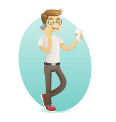 Smiling geek happy hipster with smartphone hold vector