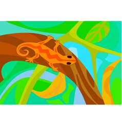 Stylized lizard on a branch vector
