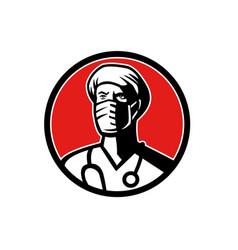 Surgeon wearing face mask circle mascot vector