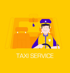Taxi service concept with driver man vector