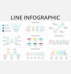 thin line flat elements for infographic template vector image