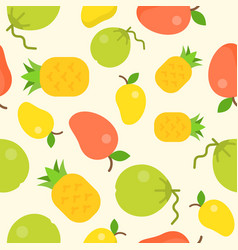 tropical fruit seamless pattern coconut pineapple vector image