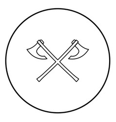 two battle axes vikings icon outline black color vector image