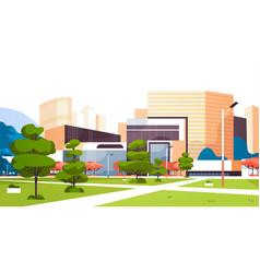 urban empty city park skyscraper buildings view vector image