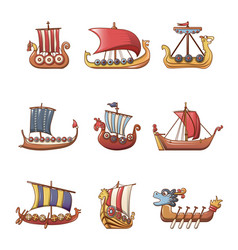 Viking ship boat drakkar icons set cartoon style vector