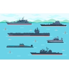 Warship set in flat style vector