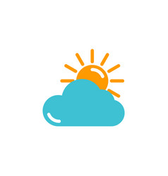 weather icon yellow sun with blue cloud in flat vector image