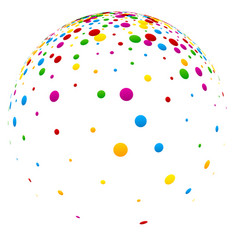 white 3d ball with colorful confetti vector image