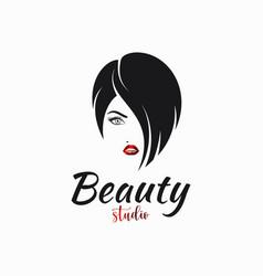 Women face hair salon logo hairstyle for women vector
