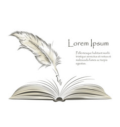 Writing feather paint with open book vector