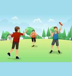 Young people playing frisbee vector