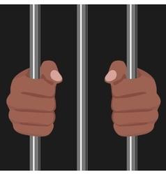 african american locked behind bars vector image