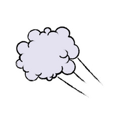 drawing fluffy cloud shaped think bubble vector image