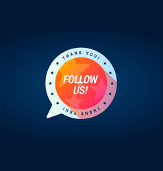 follow us sticker vector image vector image