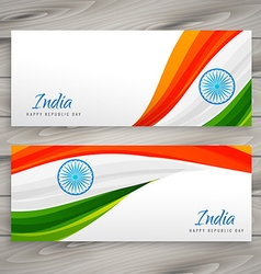 Indian flag banner card vector