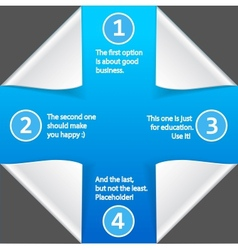 Paper infographic elements on blue background vector image vector image