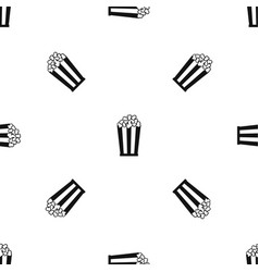 popcorn in striped bucket pattern seamless black vector image