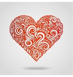 Red paper heart on gray vector image vector image