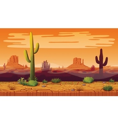 Seamless background of landscape with desert and vector image vector image