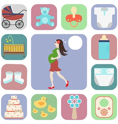 set of icons pregnant vector image vector image