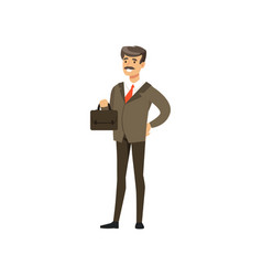 smiling mature successful businessman character in vector image vector image