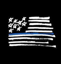 Hand drawn american flag thin blue line vector