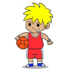 character of boy playing basketball vector image