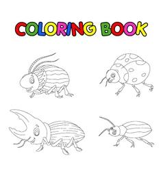 coloring book of beetle cartoon vector image vector image