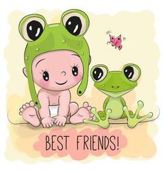 cute cartoon baby and frogg vector image