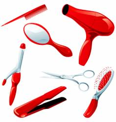 hair styling necessities vector image