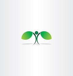 healthy green eco man plant leaf vector image