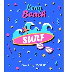 Long beach - Summer background in style of 80s vector image