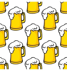 Seamless pattern of beer tankards vector image