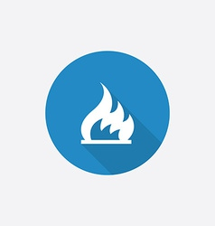 fire Flat Blue Simple Icon with long shadow vector image
