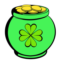 green pot full of gold icon icon cartoon vector image