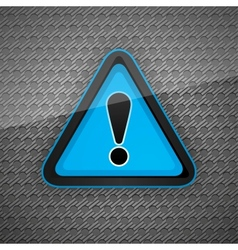 hazard warning attention symbol on a dark gray met vector image