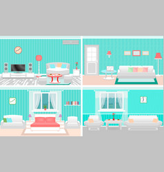living room interiors set bedroom and hall design vector image