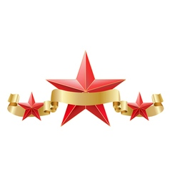 red star with golden ribbon vector image vector image