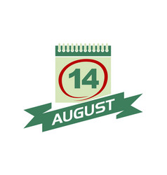 14 august calendar with ribbon vector image